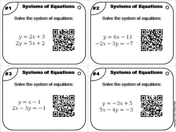 Systems of Equations Task Cards 7th 8th 9th 10th 11th Grade
