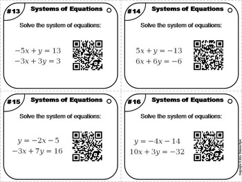 Solving Systems of Equations Task Cards 7th 8th 9th 10th 11th Grade