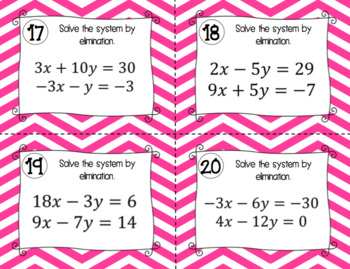 Systems of Equations Activity - Task Cards