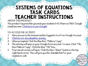 Systems of Equations Task Cards with QR Codes GOOGLE Slide Version