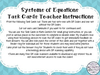 Systems of Equations Task Cards with QR Codes