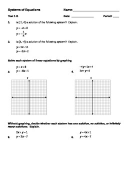 Systems of Equations Test