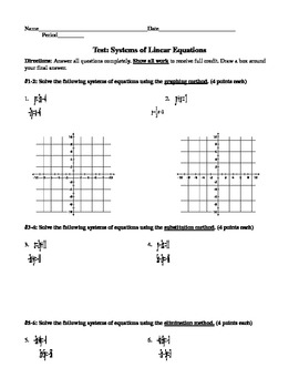 Systems of Equations Test - EDITABLE