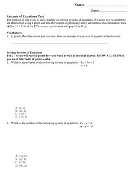 Systems of Equations Test - Includes Word Problems
