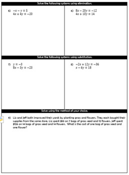 Systems of Equations Test/Quiz