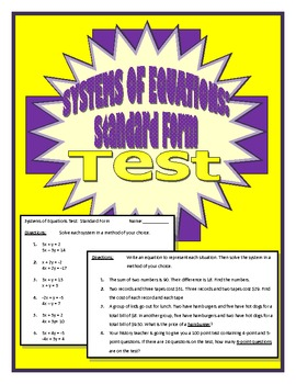 Systems of Equations Test (Standard Form)