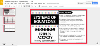 Systems of Equations Triples Activity: DIGITAL VERSION (for Google Slides™)