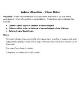 Systems of Equations - Uniform Motion - Worksheet, Assessment, Task Cards
