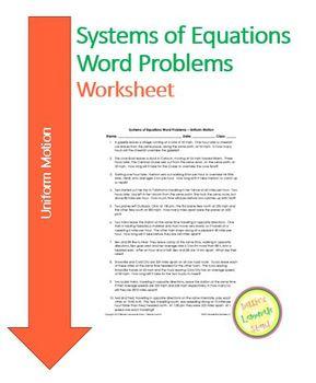 Systems of Equations - Uniform Motion - Worksheet, Assessment, Task Cards