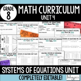 Systems of Equations Unit : 8th Grade Math