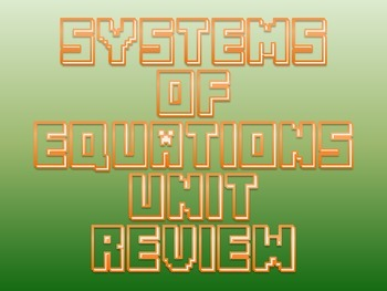 Systems of Equations Unit Review Activity