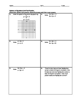 Systems of Equations Unit Test Practice