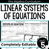 Systems of Equations Unit for Pre-Algebra