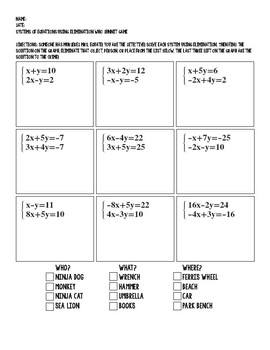 Systems of Equations Using Elimination Who Dunnit Game