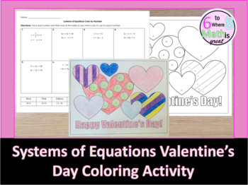Systems of Equations - Valentine's Day Coloring Activity