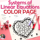 Systems of Equations Valentine's Day Coloring Page Activity