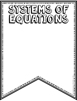 Systems of Equations Vocabulary - DIY Pennant Banner