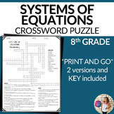 Systems of Equations Vocabulary Math Crossword Puzzle