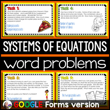 Solving Systems of Equations WORD PROBLEMS - Google Slides
