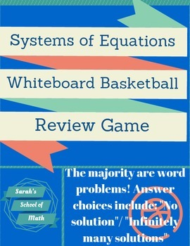 Solving Linear Systems of Equations Whiteboard Basketball Review Game