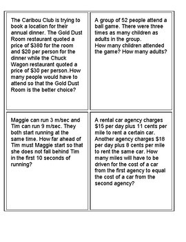 Systems Of Equations Word Problem Sort And Match Cards By Offmath