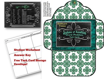 Systems of Equations Word Problem Task Cards