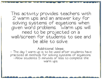 Systems of Equations Word Problem Warm Ups - from bundle