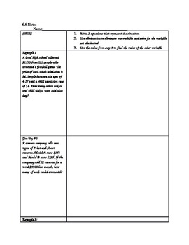 Systems of Equations Word Problems NOTES