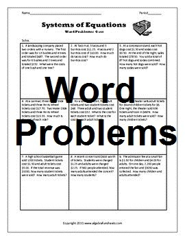 Systems of Equations - Word Problems 1 Bundle