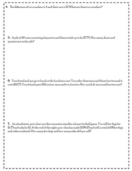 Systems of Equations Word Problems Worksheet {Systems Word Problems}