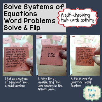 Systems of Equations Word Problems Solve & Flip Activities