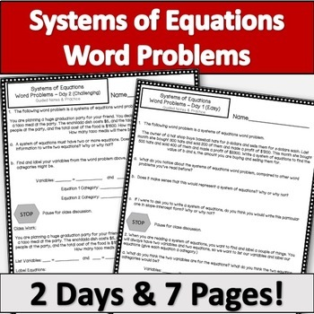 Systems of Equations Word Problems - Guided Notes & Practice