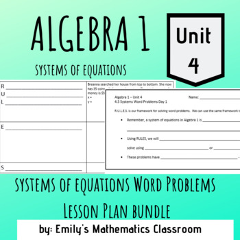 Systems of Equations Word Problems Lesson Plan Bundle