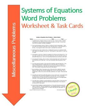 Systems of Equations Word Problems - Miscellaneous - Works
