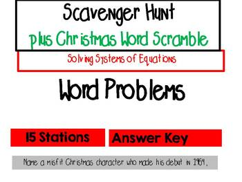 Systems of Equations Word Problems - Scavenger Hunt plus Christmas Word Scramble