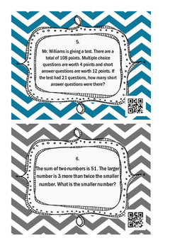 Systems of Equations - Word Problems Task Cards *QR CODES*