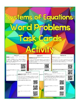 Systems of Equations: Word Problems Task Cards with QR Code answers