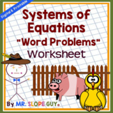 Systems of Equations Word Problems Worksheet Activity