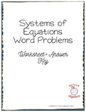 Systems of Equations Word Problems Worksheet - from bundle