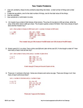 Systems of Equations Word Problems involving Two Totals