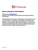 Systems of Equations: Word Problems