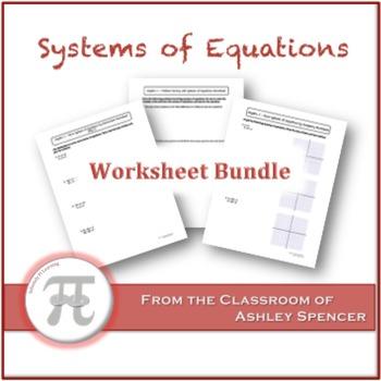 Systems of Equations Worksheet Bundle