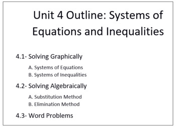 Systems of Equations and Inequalities (Algebra 1 - Unit 4 Bundled Lessons)