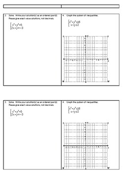 Systems of Equations and Inequalities Learning Target Quiz