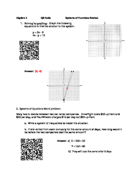 Systems of Equations and Inequalities QR Code Activity
