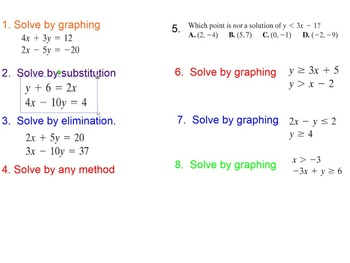 Systems of Equations and Inequalities Review