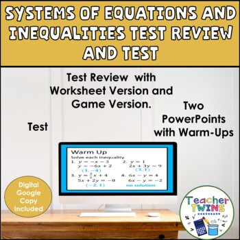 Systems of Equations and Inequalities Test Review and Test