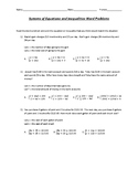 Systems of Equations and Inequalities Word Problems