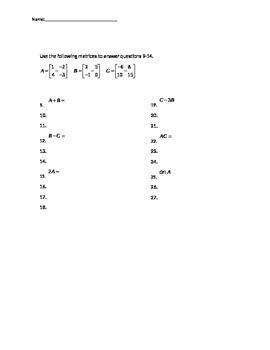 Systems of Equations and Matrices Test