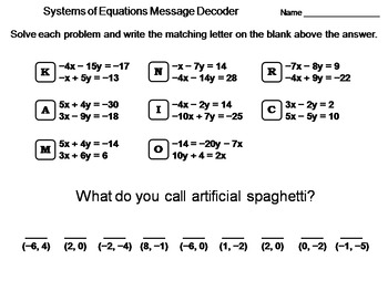 Systems of Equations by Elimination Activity: Math Message Decoder